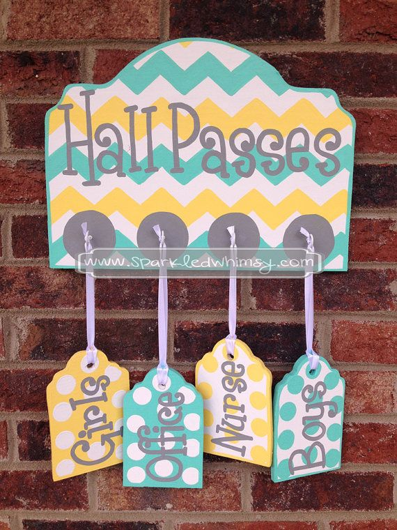 Hall Passes Sign for Classroom Turquoise/Yellow by SparkledWhimsy, $39.00