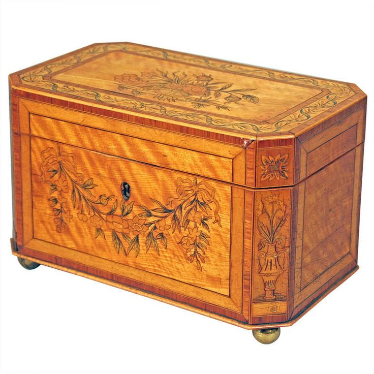 Inlaid Tea Caddy with Canted Corners | From a unique collection of antique and modern decorative boxes at https://www.1stdibs.com/furniture/more-furniture-collectibles/decorative-boxes/