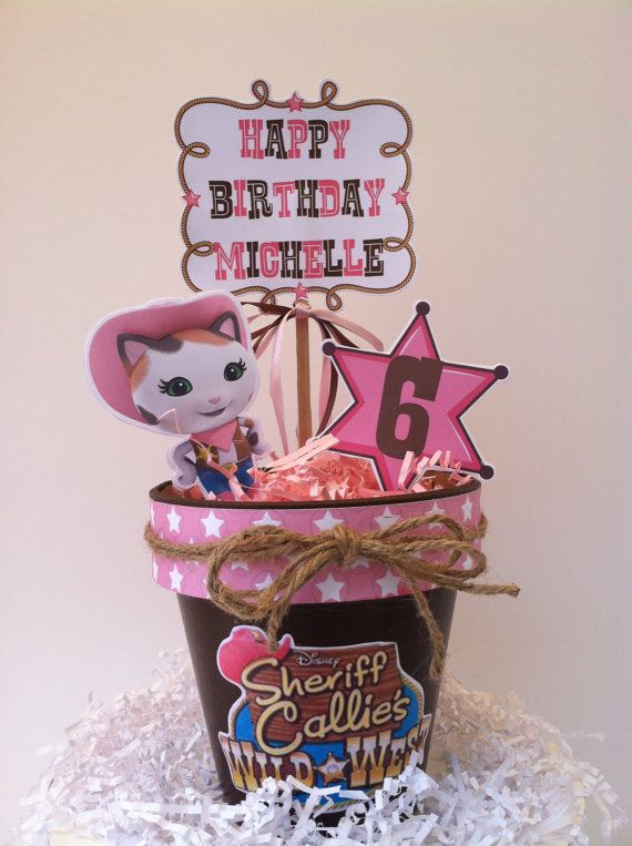 Sheriff Cat Birthday Centerpiece by TickleMeParty on Etsy, $14.00