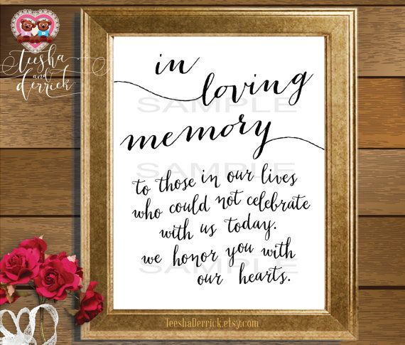 This printable is the most perfect way to honor our loved ones who have passed away. Framed it and placed it next to a memorial remembrance candle at your wedding or a baptism, or display this at your wall as a loving remembrance and reminder. In Loving Memory Those we love dont go away,They walk beside us every day. Unseen, unheard but always near Still loved, still missed and very dear.  ------------------------------------------------------------------------------------------  This is an…