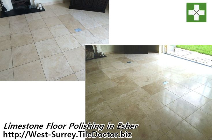This beautiful Limestone tiled floor was installed in the lounge of a house in the popular London commuter town of Esher. The floor was looking dull after years without a polish and the grout was dirty, there was also a crack running along a number of tiles however without matching replacements it was decided not to address that problem at this time.