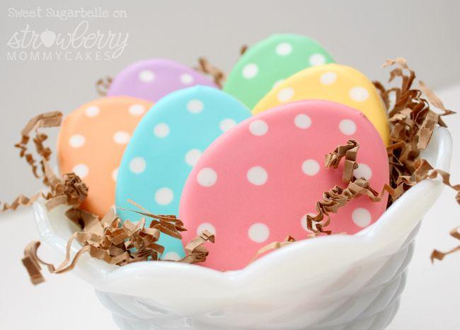 Egg Cookie Tutorial by Sweet SugarbellePolka Dots, Eggs Cookies, Cookies Decor, Cookies Easter, Cookies Recipe, Dots Easter, Easter Eggs, Cookies Tutorials, Easter Cookies