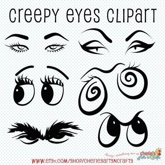Creepy Eyes Clip Art Halloween Clip Art Eyes Cliparts Etsy Creepy Eyes Halloween Clips Cartoon Eyes