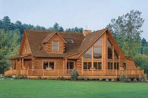 Large, modern log home
