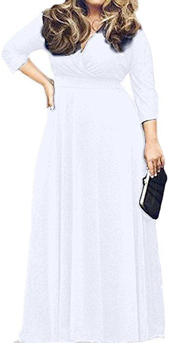 c1652a7398e POSESHE Women s Solid V-Neck 3 4 Sleeve Plus Size Evening Party Maxi Dress  (XL