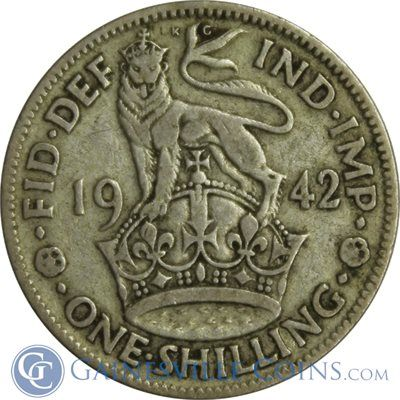 1942 Great Britain 1 Shilling Silver Coin