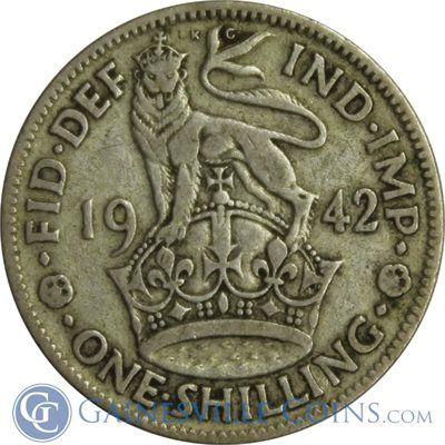 1942 Great Britain 1 Shilling Silver Coin