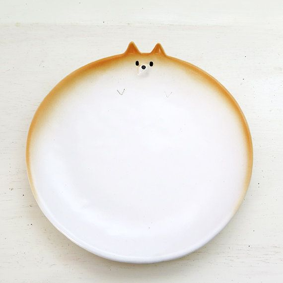 "Ceramics tableware  ""Plate of Shiba Inu type L""  Shiba is Japanese dog."