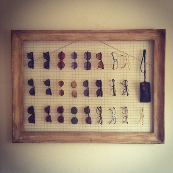 Eyeglass display - frame with wire mesh background