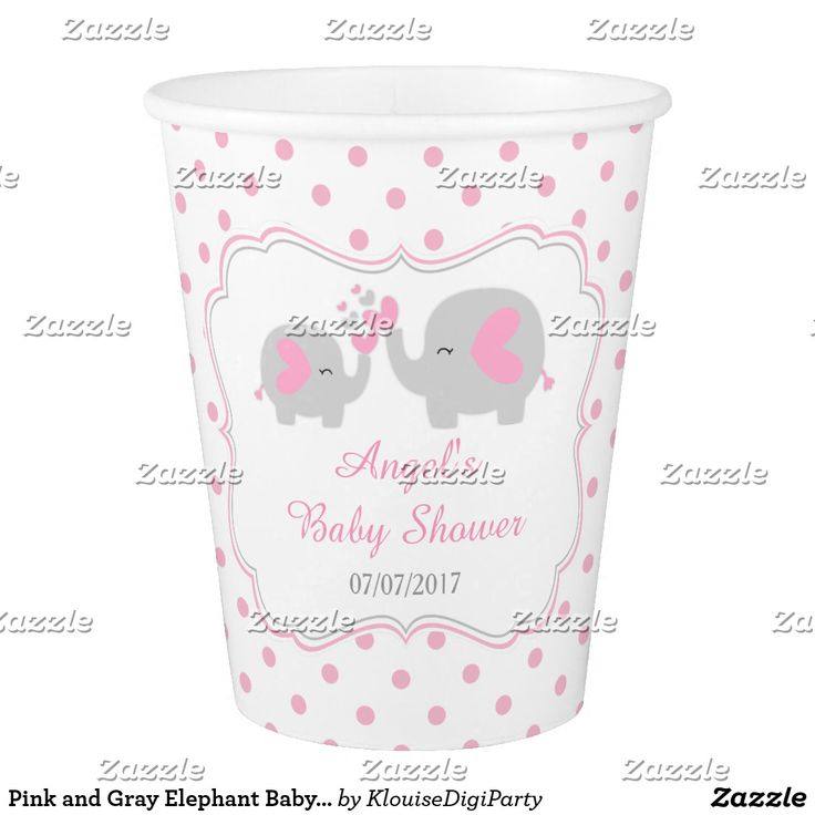 Pink and Gray Elephant Baby Shower Paper Cup