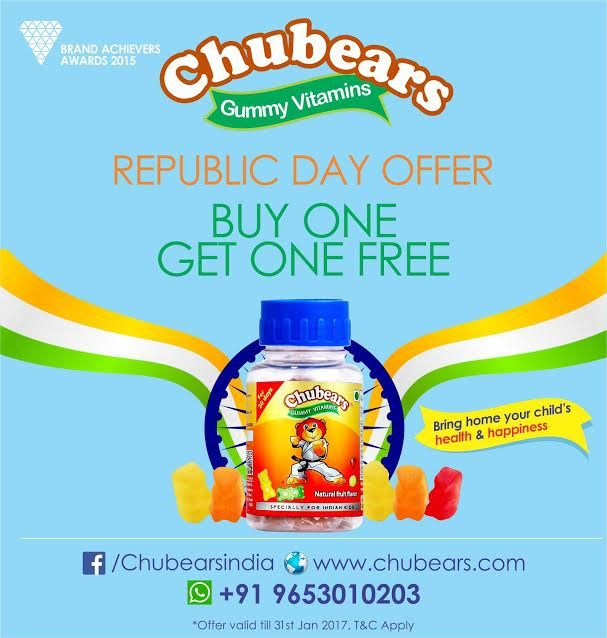 #Sale: Buy #ONE, Get #ONE #FREE!! Call / whatsapp on 9653010203. Buy online at shop.chubears.com  Use #Offer_Code #BOGO for Chubears Calcium & Chubears Vitamins Bottles  Use Offer Code BOGOSTART for Chubears Calcium & Chubears Vitamins Starter Packs  Hurry, Valid till 31st Jan 2017 only.