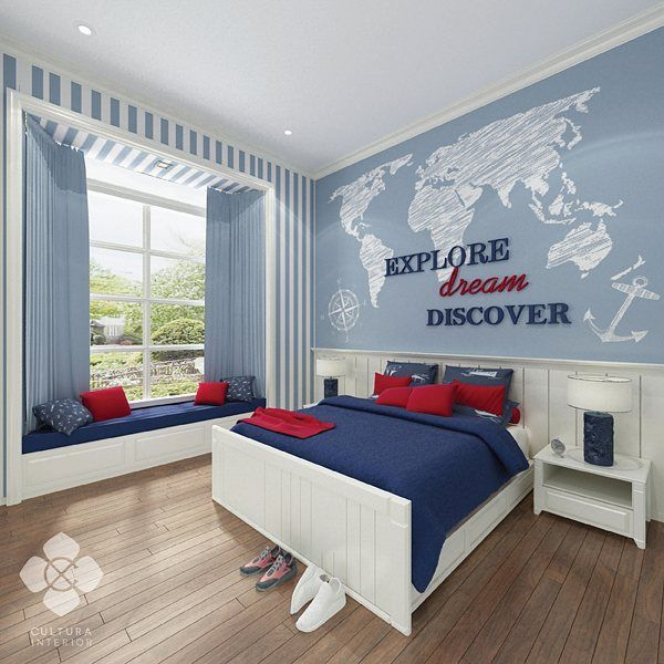 Boy's bedroom decorated in cool blue color with a touch of bold red and clean white. A comfortable and slightly adventurous bedroom for boys who likes to keep things simple in style.  Designed by @culturainterior  #interior #interiordesign #bedroom #bedroomdesign #bedroominterior #interiorinspiration #interiorindonesia #interiorsemarang #culturainterior