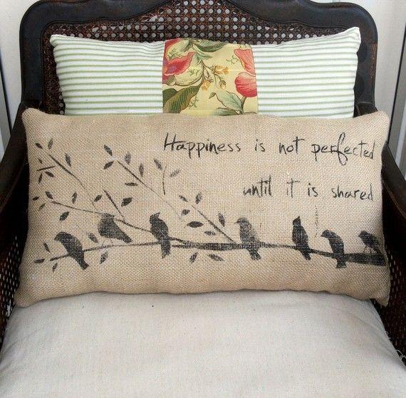 Happiness Birds on a Branch  Burlap  Pillow  by nextdoortoheaven, $30.00