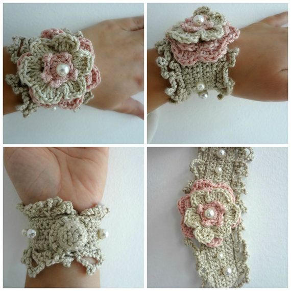Crocheted Flower Bracelet