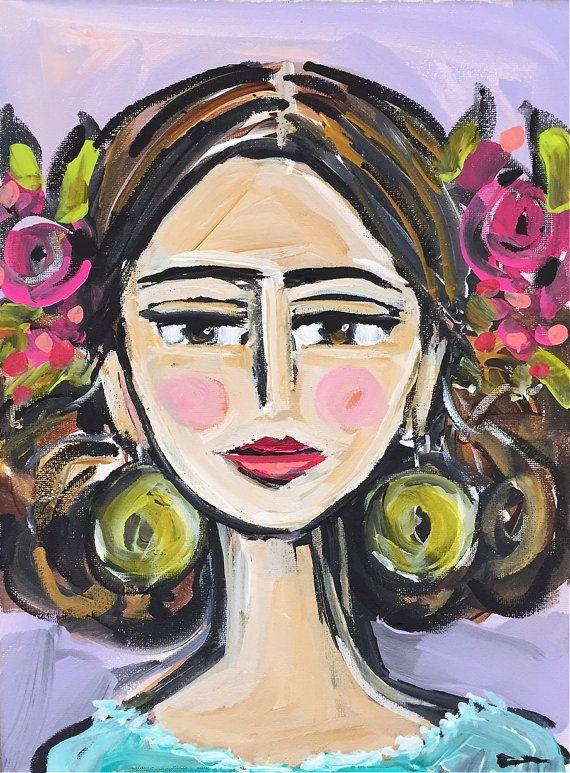 Belle / acrylic Portrait ORIGINAL painting on by DevinePaintings
