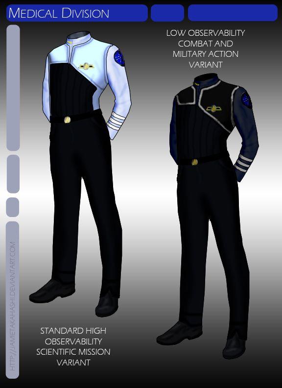 Uniforms for the Medical Division officers aboard starships in Star Trek: Avenger.