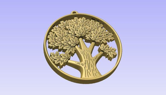 Stl 3d models of TREE PENDANT for cnc carving by Digital2Cre8