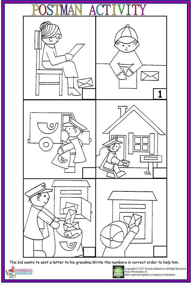 Postman Sequencing Worksheet Sequencing Worksheets Preschool Worksheets Kindergarten Sequencing Worksheets Sequence worksheets for kids