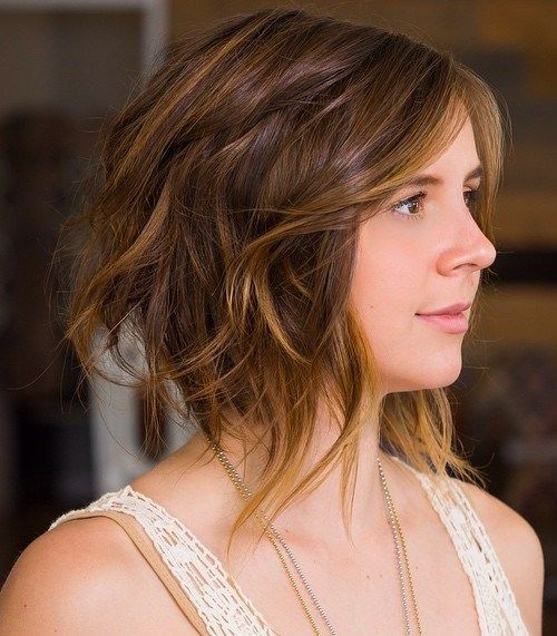 long choppy bob with balayage highlights
