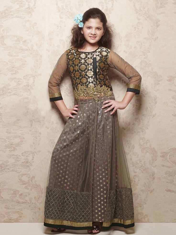 Серо-коричневое длинное платье / костюм, с рукавами ниже локтя, для девочки от 5 до 12 лет