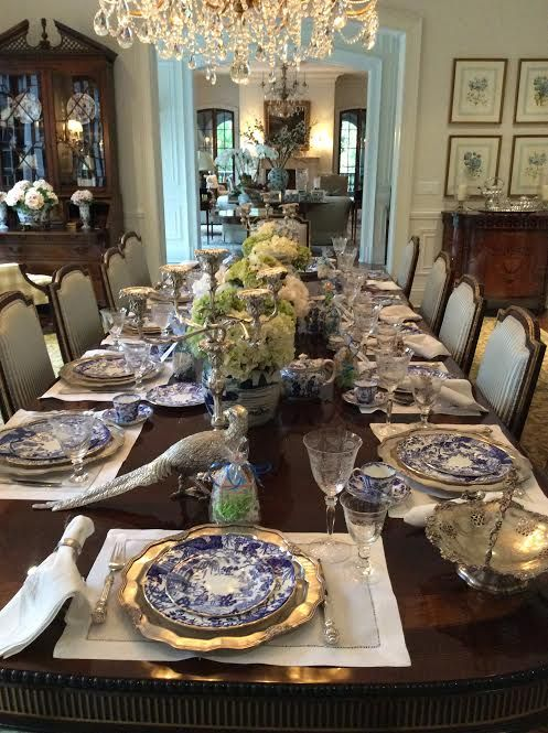 Another View Blue White China Silver Candelabras Dark Wood Furniture I Need A Larger Dining Room