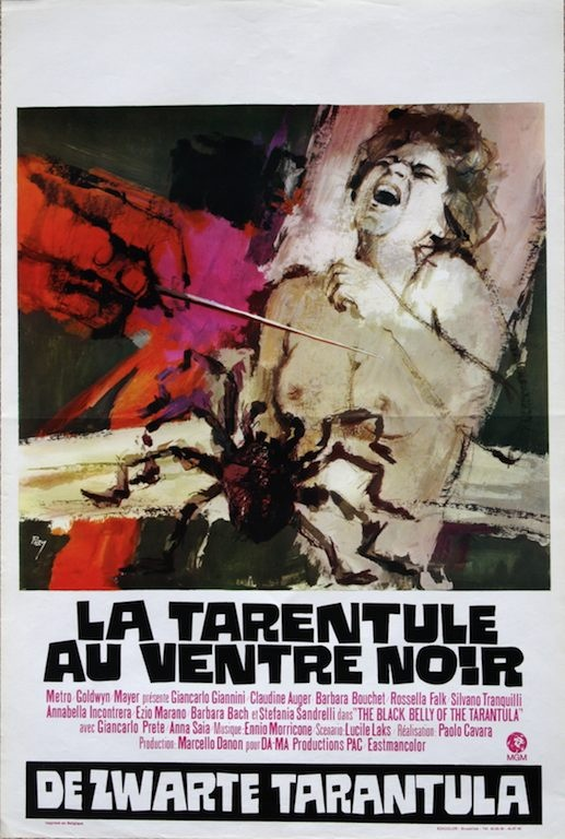 The Black Belly Of the Tarantula Belgian movie poster. Art by Ray (Raymond Elseviers). 1971 giallo movie with Claudine Auger, Barbara Bouchet