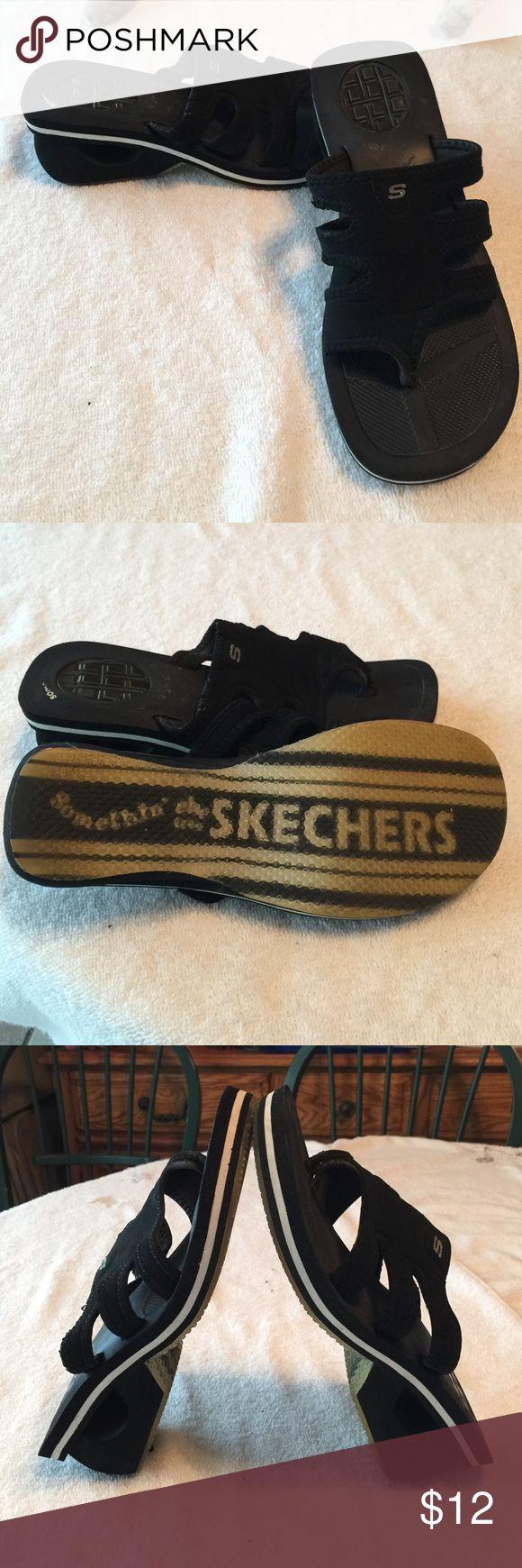"Skecher Sandals Skecher sandals, black, size 8 with 2-1/4"" heel, good used condition. Skechers Shoes Sandals"