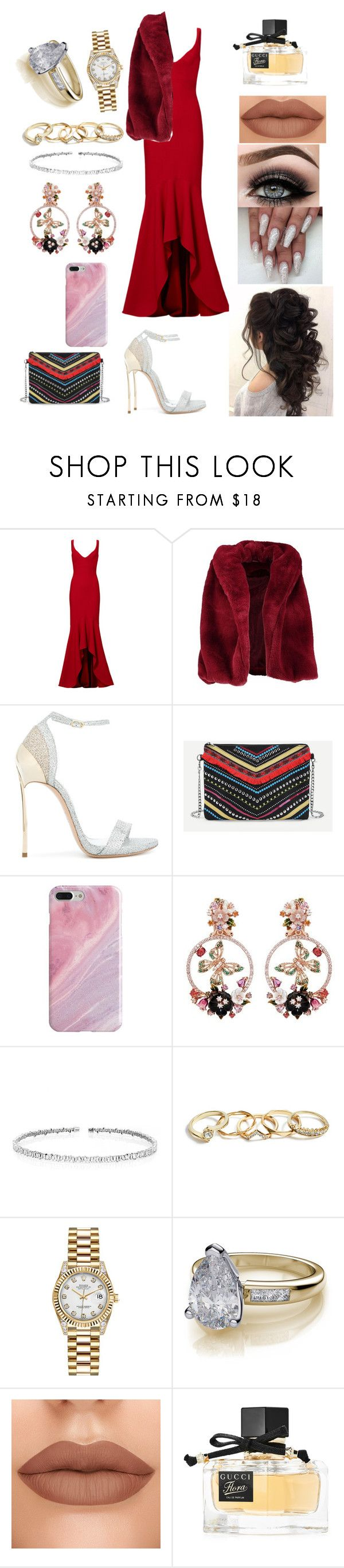 """Red never makes a bad impression"" by jazmin-576 on Polyvore featuring moda, Carmen Marc Valvo, Boohoo, Casadei, Recover, Anabela Chan, Suzanne Kalan, GUESS, Rolex y ASAP"