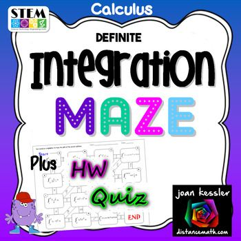 Calculus Integration Fun Maze.This engaging fun product is designed for AP Calculus AB, BC, Honors Calculus, and College Calculus 1.Students solve definite integration problems and each solution leads to the next problem as they work around a maze. Some of the Integrals involve substitution and transcendental functions but do not include Inverse Trigonometric nor Logarithmic Functions.