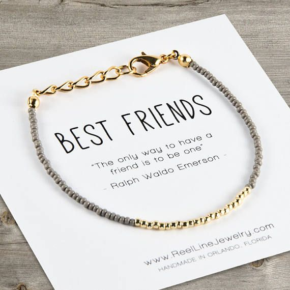"""Modern Friendship Bracelet with gold and glass seed beads in your color choice (see additional photos). Message card reads: Best Friends The only way to have a friend is to be one"""" - Ralph Waldo Emerson Reel Line Jewelry friendship bracelets are handmade with love while"""