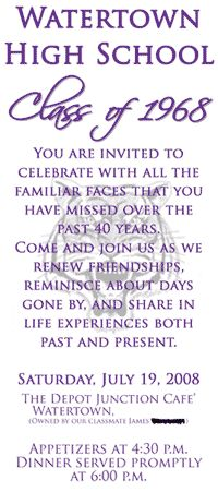 high school reunion invitations - the front