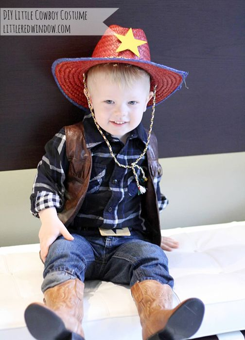 Make and cute and easy DIY Little Cowboy Costume with ideas from Little Red Window! #halloween #costume