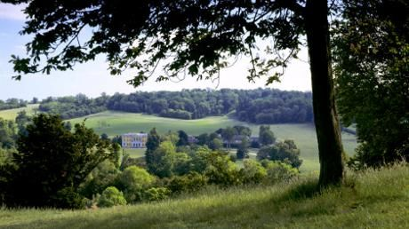 View of West Wycombe Park, Dashwood family home, from West Wycombe Hill