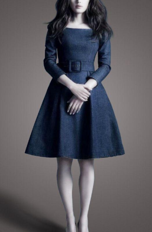 Love Love LOVE! This Dress is SO CUTE! Dark Blue Denim Long Sleeves Dress