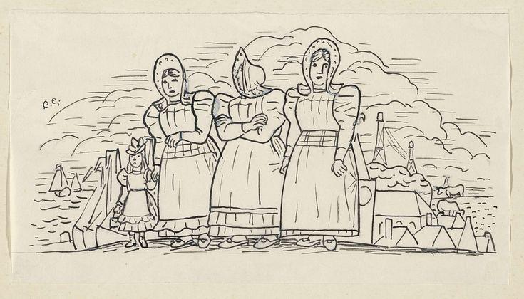 Leo Gestel   Ontwerp voor een vignet voor het maandblad voor Beeldende Kunsten: Drie vissersvrouwen en een meisje, Leo Gestel, 1891 - 1941   Ontwerp voor een prent.