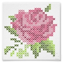 cross stitch rose (use perler bead patterns for cross stitch)
