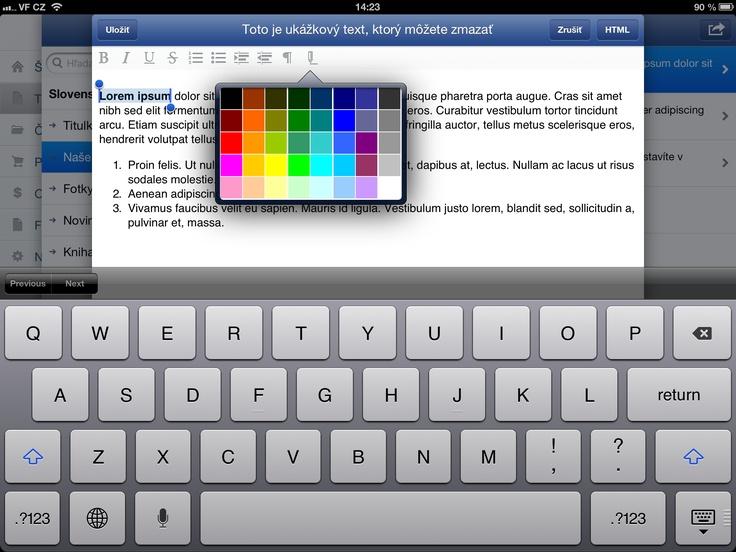 úprava textu cez iPad