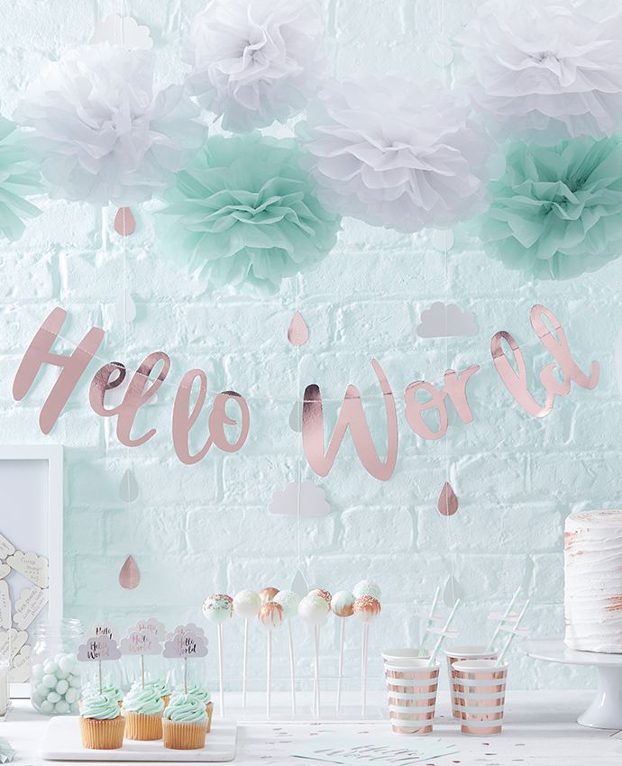 Our Hello World baby shower supplies make such a lovely party theme - we particularly love this rose gold letter banner!