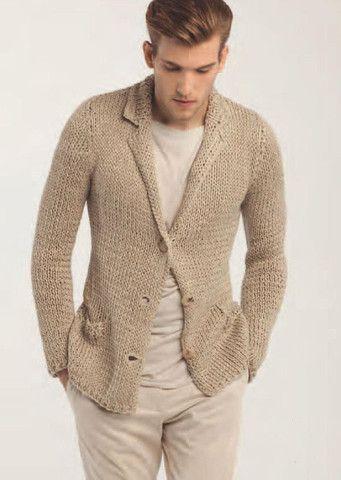 Men's hand knit cardigan 36A