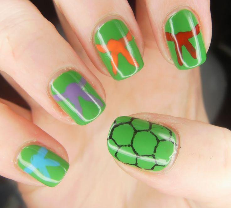 Teenage Mutant Ninja Turtle Mask and Shell Nail Art