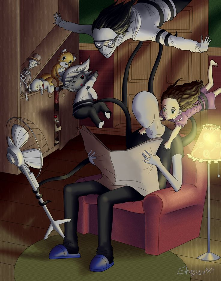 Normal Night with the Creepy Pasta gang >>don't you dare say that's not adorable slendy is freaking holding up Jeff letting him pretend to fly while holding a fan to make it more realistic