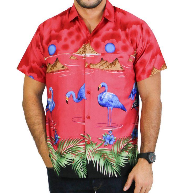 La Leela Smooth Likre Flora Geo Guitar Hawaiian Swirl Hula Explore Camp Shirt Men Royal