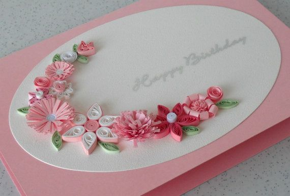 Handmade birthday greeting card, paper quilled, quilling flowers