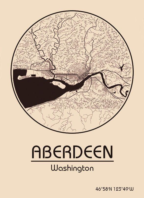 Karte / Map ~ Aberdeen, Washington - Vereinigte Staaten von Amerika / United States of America / USA
