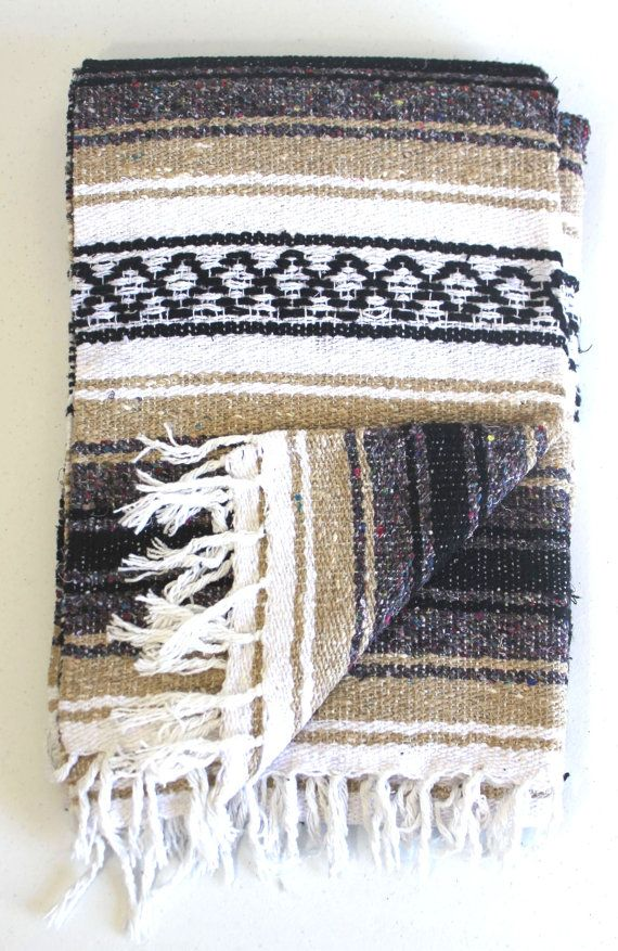 TAN Mexican Blanket Beach Blanket Vintage by LilianaCruzDesigns