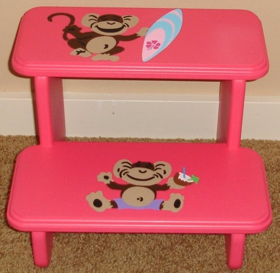 Surf Monkey Step Stool Pink by GreatCustomFurniture on Etsy $55.00  sc 1 st  Pinterest & 42 best Canvas Ideas images on Pinterest | Canvas ideas Monkey ... islam-shia.org