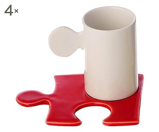 Set di 4 tazzine caffe' in porcellana Puzzle rosso