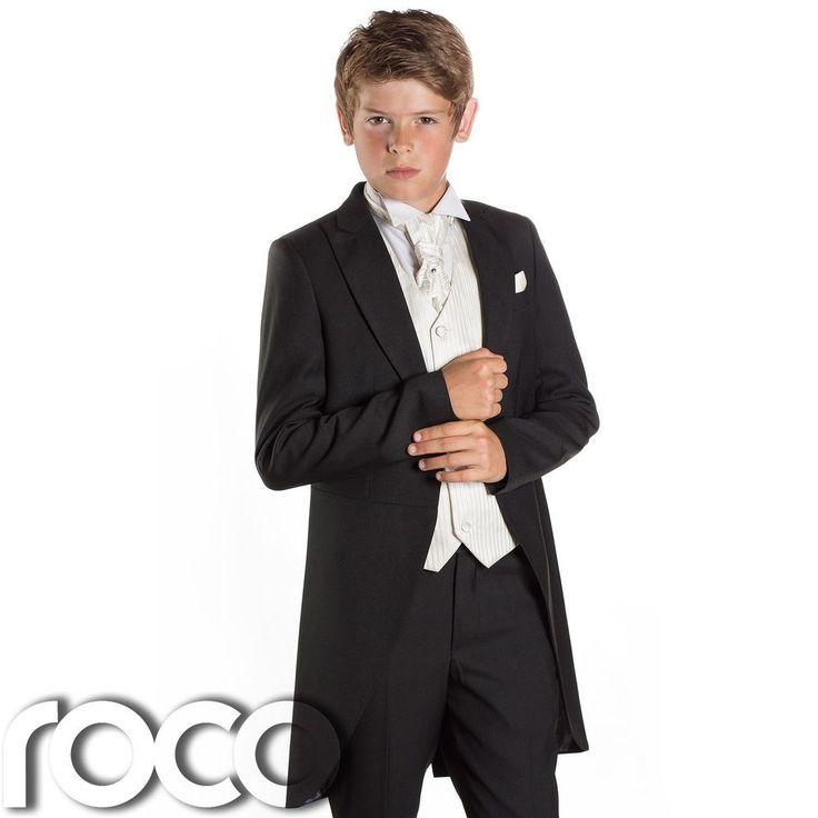 Boys Black & Ivory Tail Suit , Wedding Suits, Page Boy Suits, Slim Fit Suits