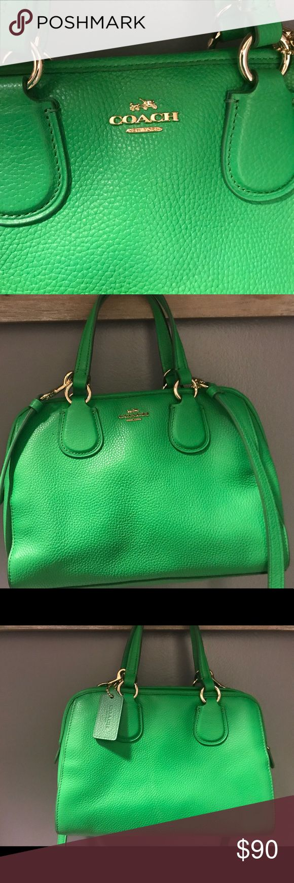 Coach purse This is an adorable apple green Coach purse. I carried this one time as it matches an outfit I wore to a function. It needs a home where it will be used. It comes with the Coach bag for protection. It has a removable shoulder strap. Great condition. Coach Bags Mini Bags