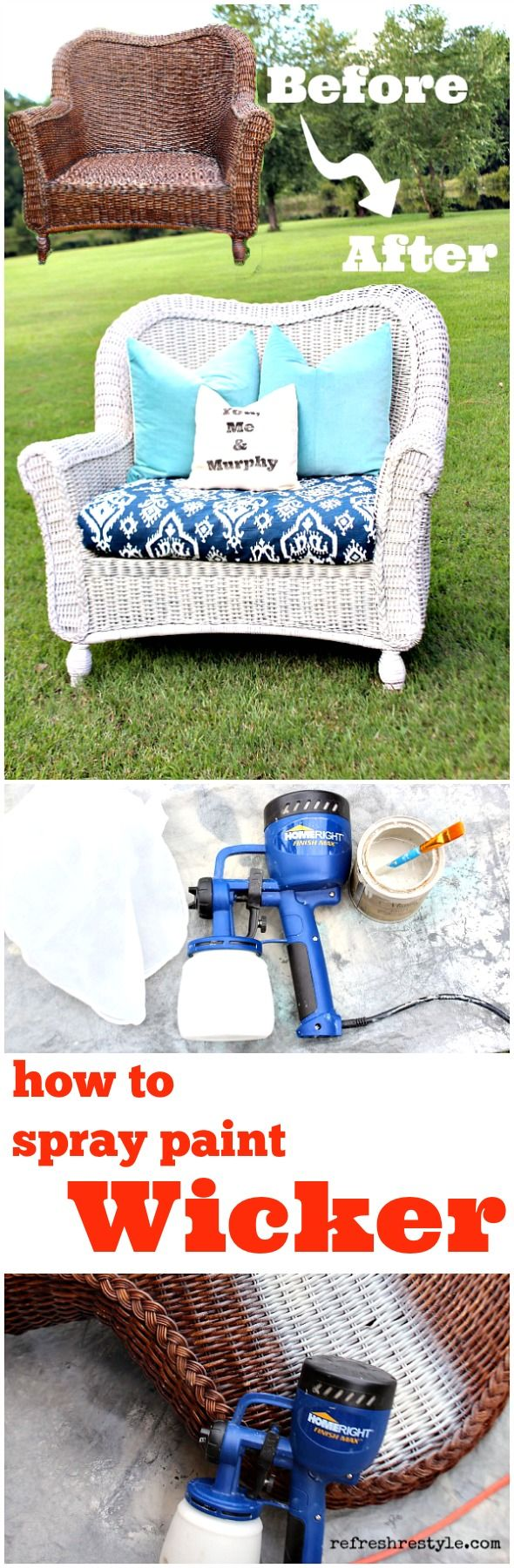 How to spray paint wicker with any color, fast and easy! @faizasokari I thought you might wanna see this... haha
